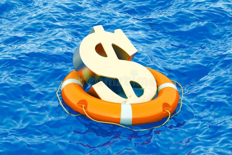 Boia salva-vidas com símbolo dourado no mar aberto, do dólar rendição 3D ilustração do vetor