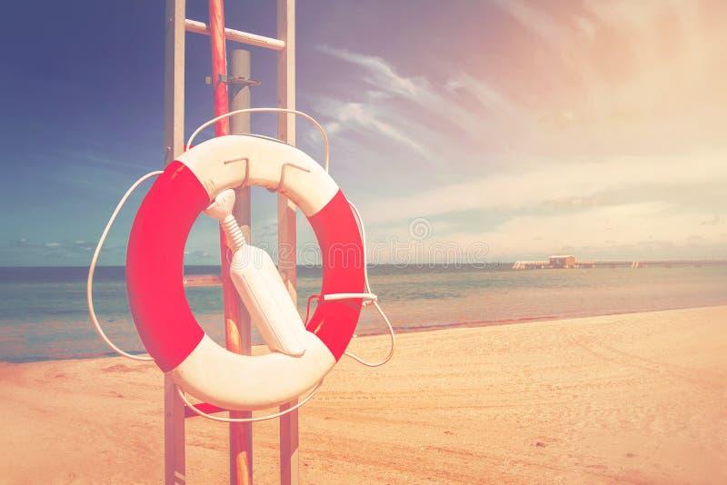 Boia salva-vidas, conservante de vida em Sandy Beach fotos de stock