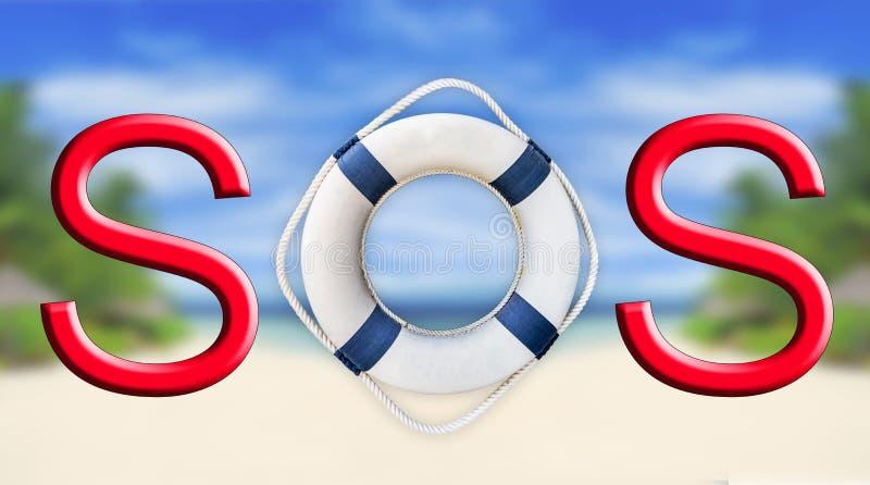 Boia salva-vidas e sinal do SOS imagem de stock