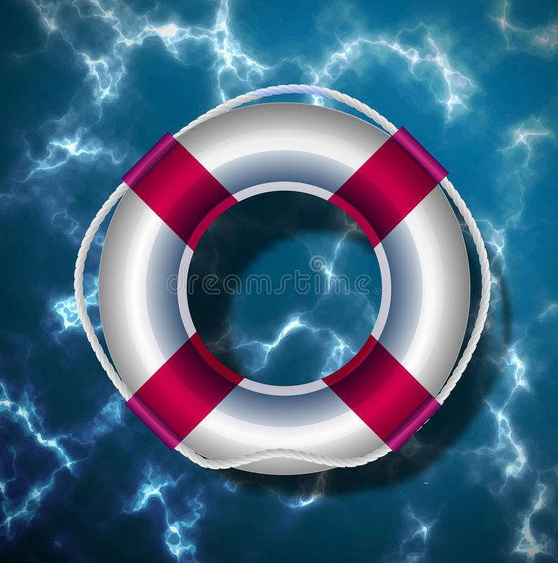 Boia salva-vidas no fundo da superfície da água do rio, do mar, do oceano ou do outro corpo de água Ilustra??o do vetor ilustração royalty free