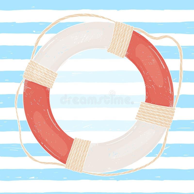 Boia salva-vidas no fundo das tiras marinhas desenhados ? m?o Espa?o da c?pia para seu texto no tema do mar Ilustra??o do vetor ilustração stock
