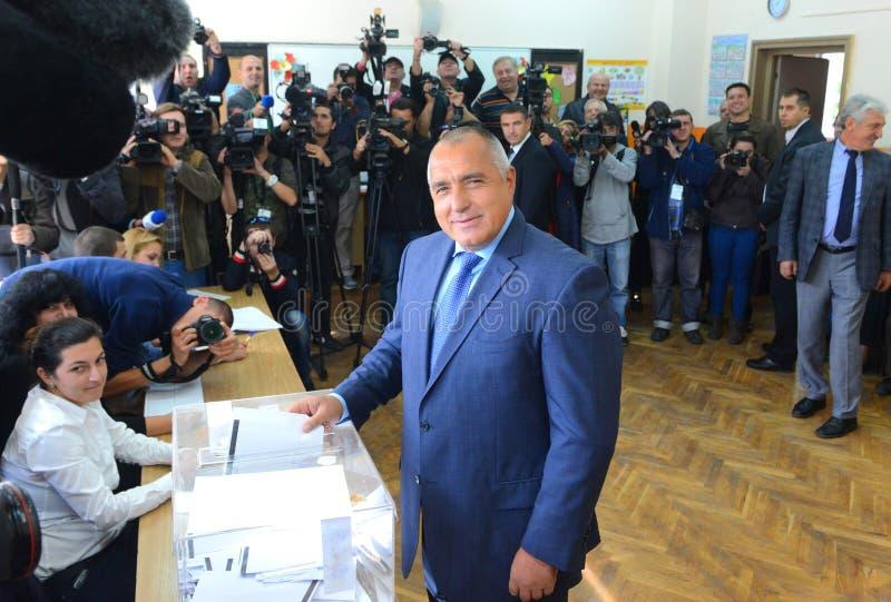 Boiko Borisov, leader centre right GERB vote in Sofia Oct 5, 2014. Bulgaria royalty free stock photography