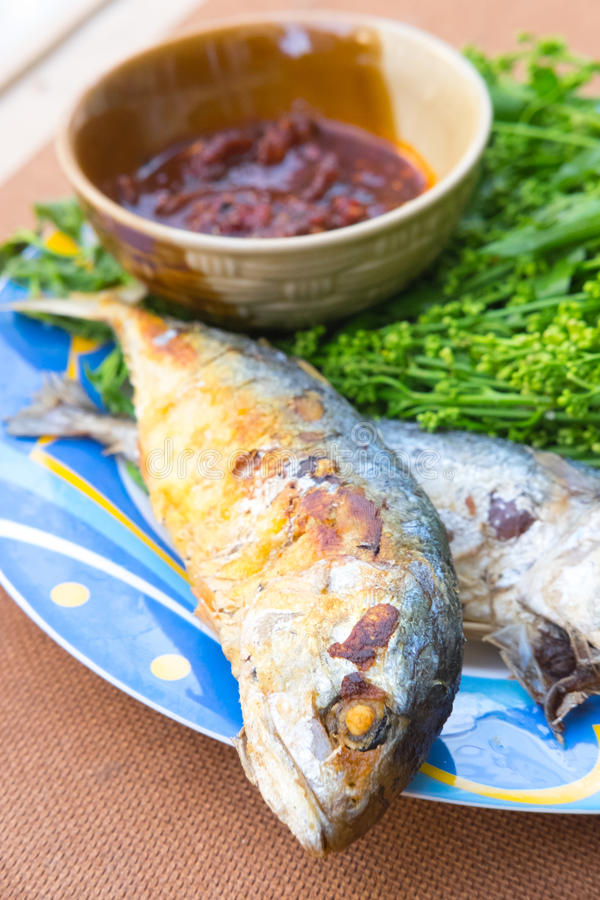 Boil Margosa with fried mackerel and sweet sauce. Delicious Thai style food stock image