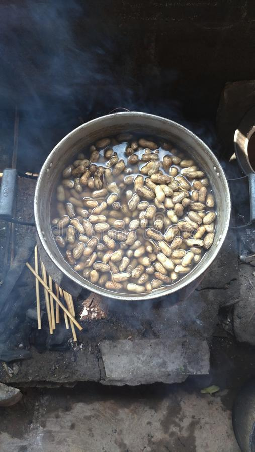 Boil nut bean in hot pot Thailand food. Delicious royalty free stock photography