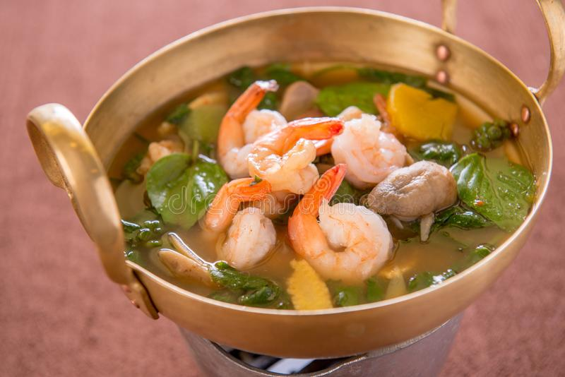 Boil prawn and vegetables. Close up stock image