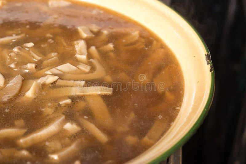 Boil top of bamboo in thai food menu stock photo