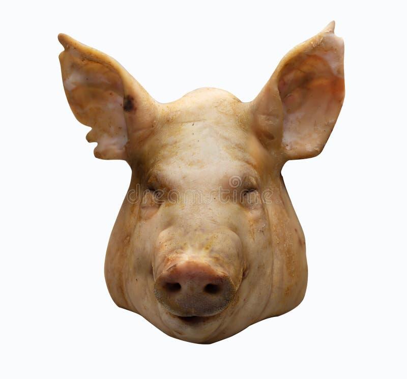 Boiled закипело голову свинины в фестивале китайского народа, белом фоне стоковые фотографии rf