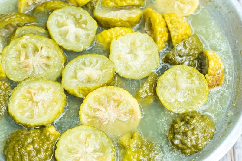 Boiled bergamot. Handmade bergamot dish washing soap, boiled bergamot royalty free stock image