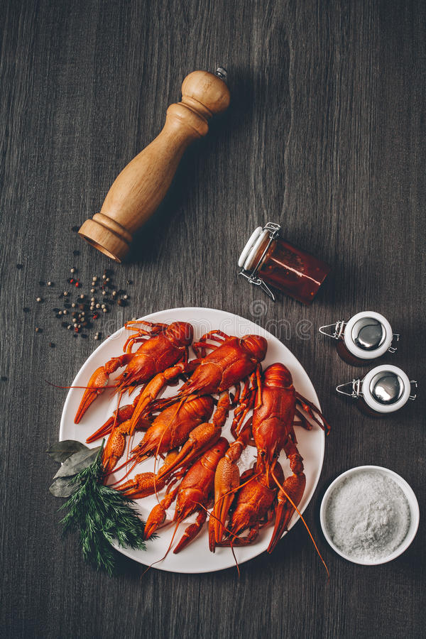 Boiled big red fresh crayfish in white plate with green herbs. Composition with sauce jars and pepper grains around. Gray wooden background. Instagram vintage royalty free stock photography