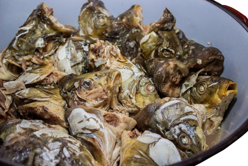 Boiled carp heads in saucepan 3 stock images