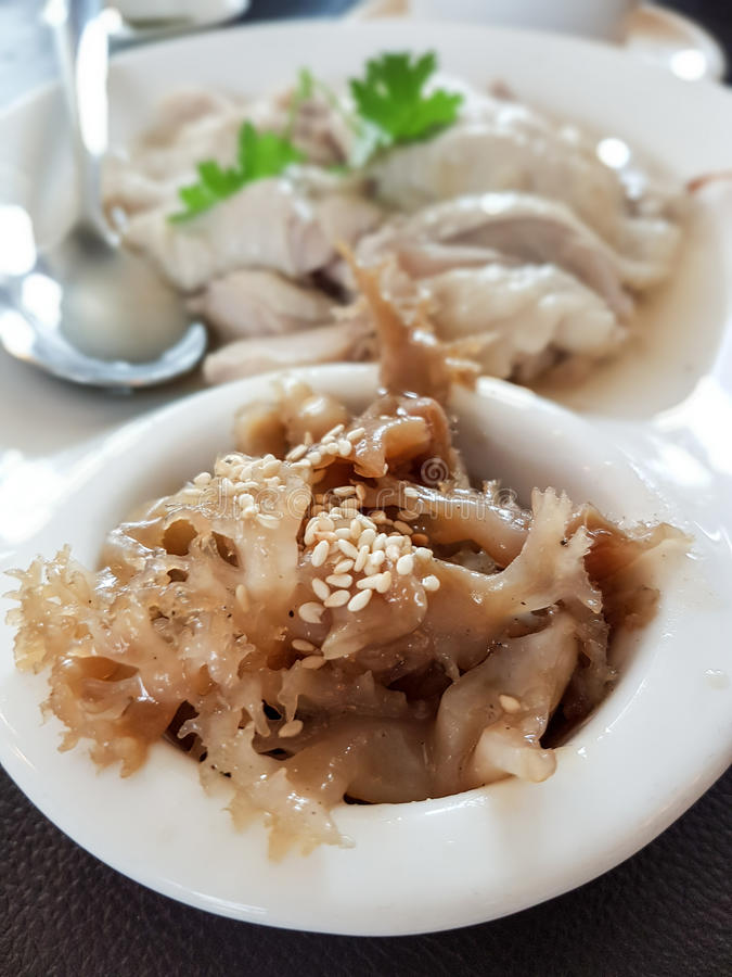 Boiled chicken in white plate , Chinese Food. Delicious Jellyfish with white sesame stock photo