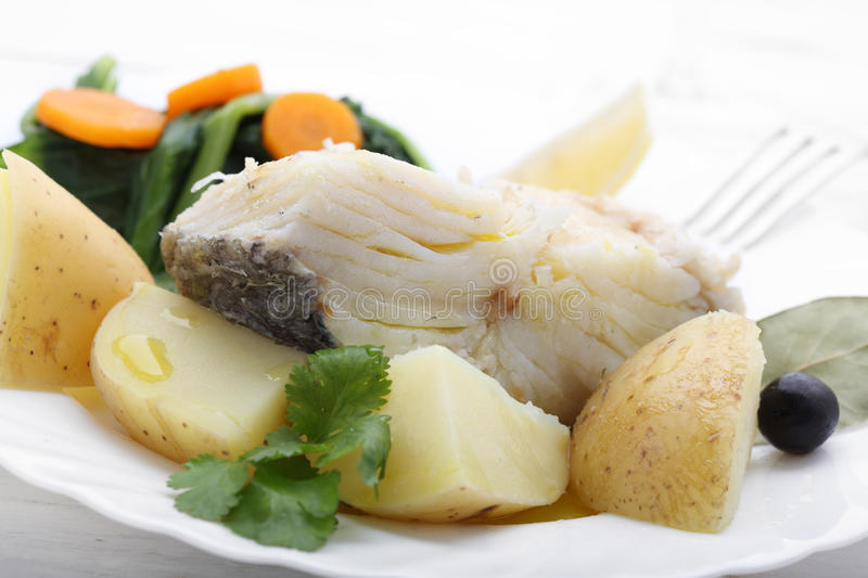 Boiled cod fish with potatoes and cole. Boiled cod fish with potatoes stock image