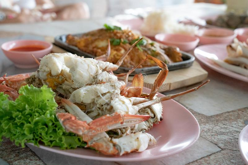 Boiled Crab with the traditional Thai Seafood Table and Lunch style royalty free stock images