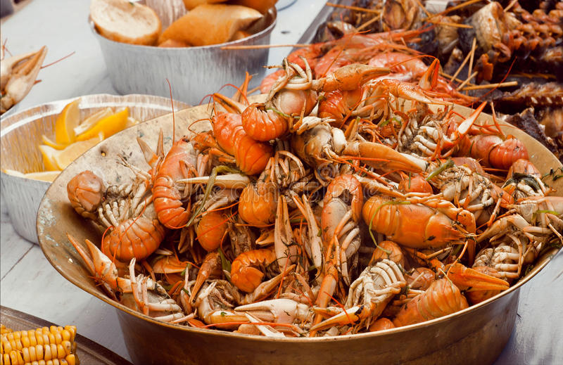 Boiled crawfish ready to eat in the kitchen royalty free stock photos