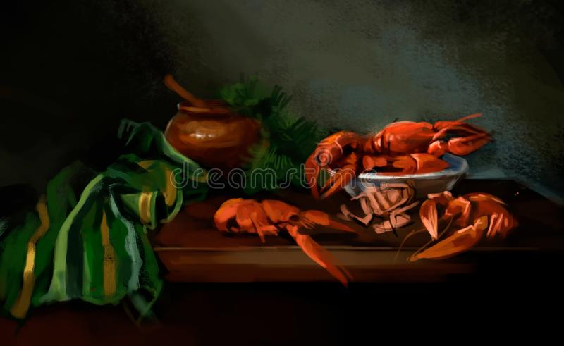 Boiled crayfish on the table vector illustration