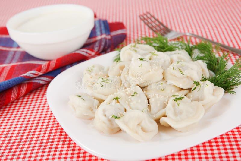 Boiled dumplings stock image
