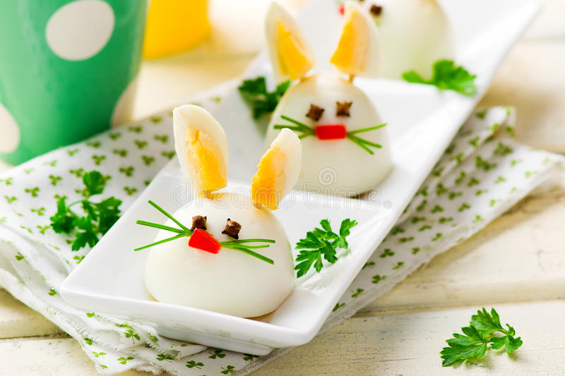 Boiled Egg Bunny Rabbit. For a children's party. selective focus stock photography