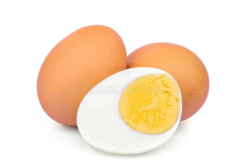 Boiled egg isolated on white royalty free stock images