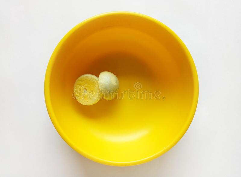 Boiled Egg Yolk. For Breakfast Healthy Nutritious Food are chopped in two pieces stock photography