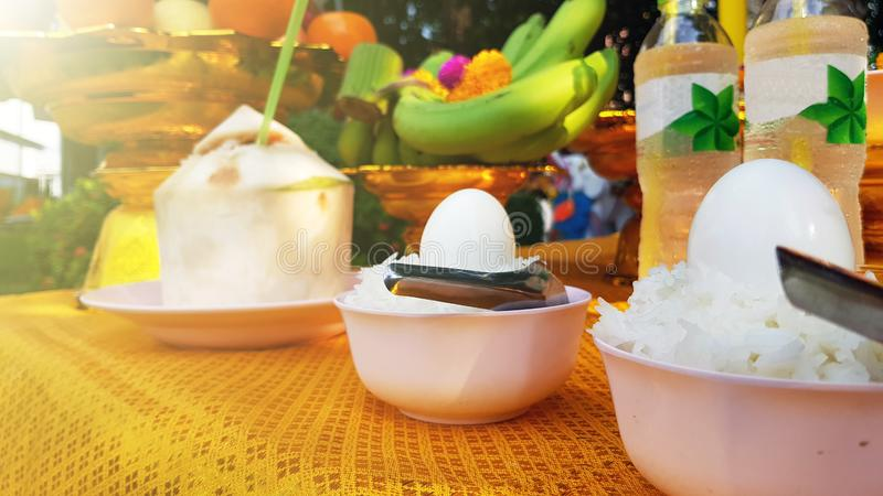 Boiled eggs and rice for Thai religious ceremonies on Songkran Day,food offering in the Thai Brahmin ceremony.  royalty free stock photography