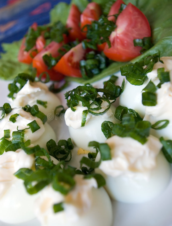 Boiled eggs salad royalty free stock image