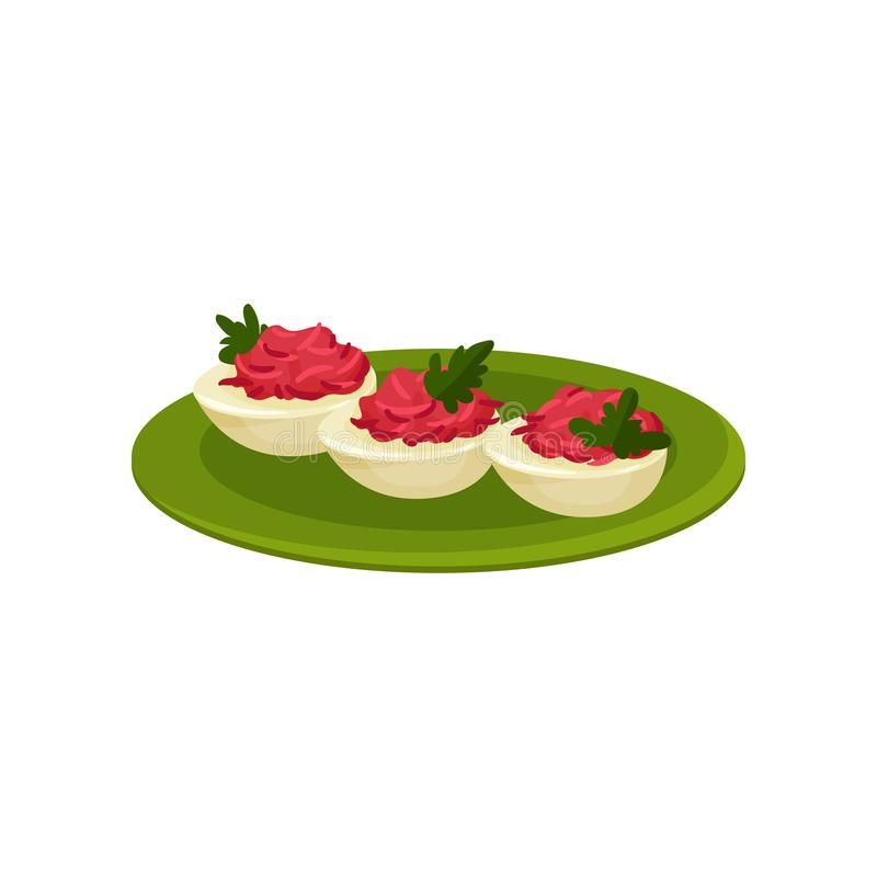 Boiled eggs stuffed with beetroot. Tasty snacks. Appetizing food. Culinary theme. Flat vector icon stock illustration