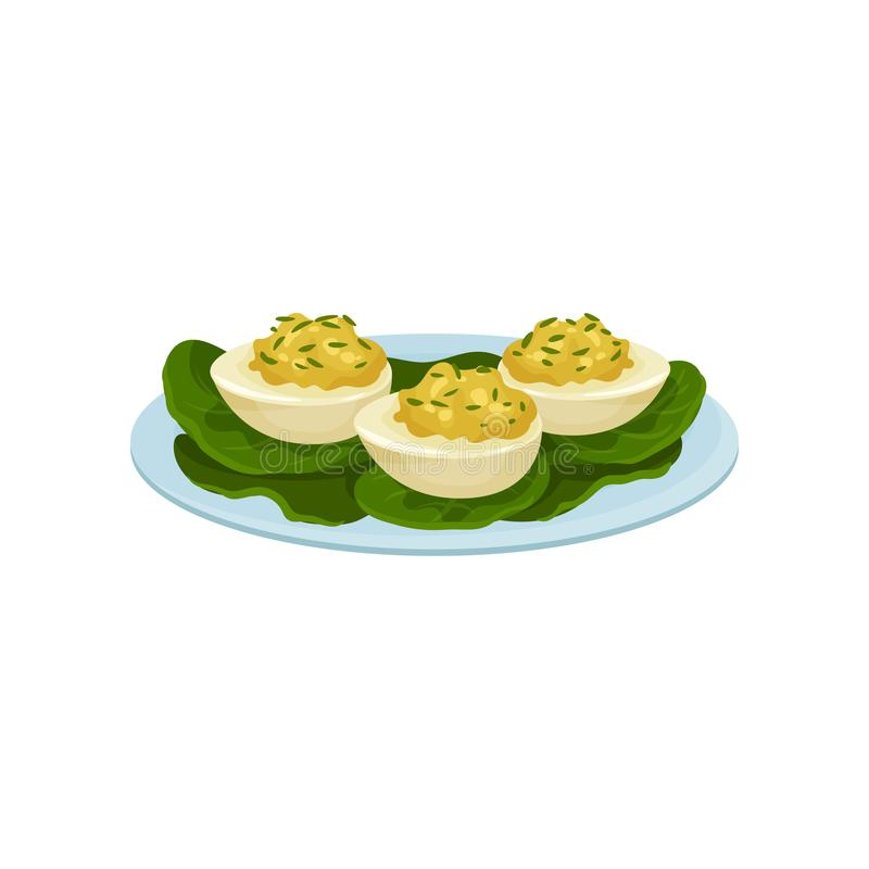 Boiled eggs stuffed with mustard and greens. Appetizing snacks on blue plate. Food theme. Flat vector icon. Boiled eggs stuffed with mustard and greens vector illustration