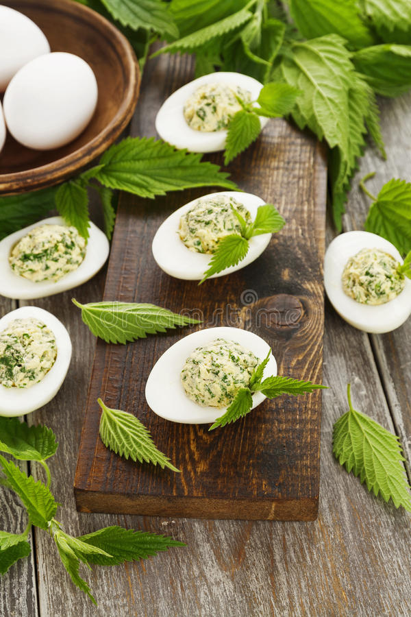 Boiled eggs stuffed with nettles royalty free stock photo