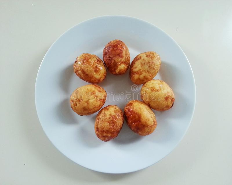 Boiled egss fried in the dish, Thai food, Thailand. Special menu of thai food is name kai look koey stock image
