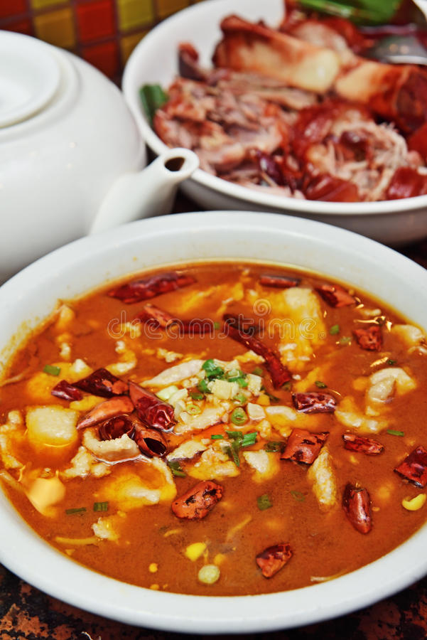 Boiled fish in chili soup stock photos