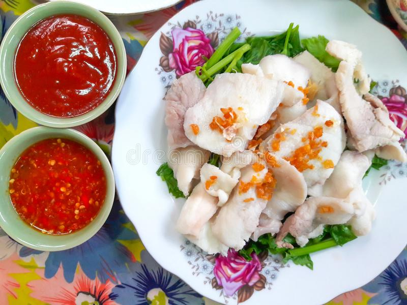 Boiled fish dip royalty free stock photos