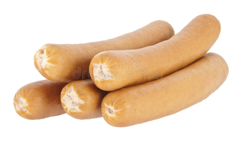 Download Boiled Hot Dog Sausages On White Background Royalty Free Stock Image - Image: 23584536