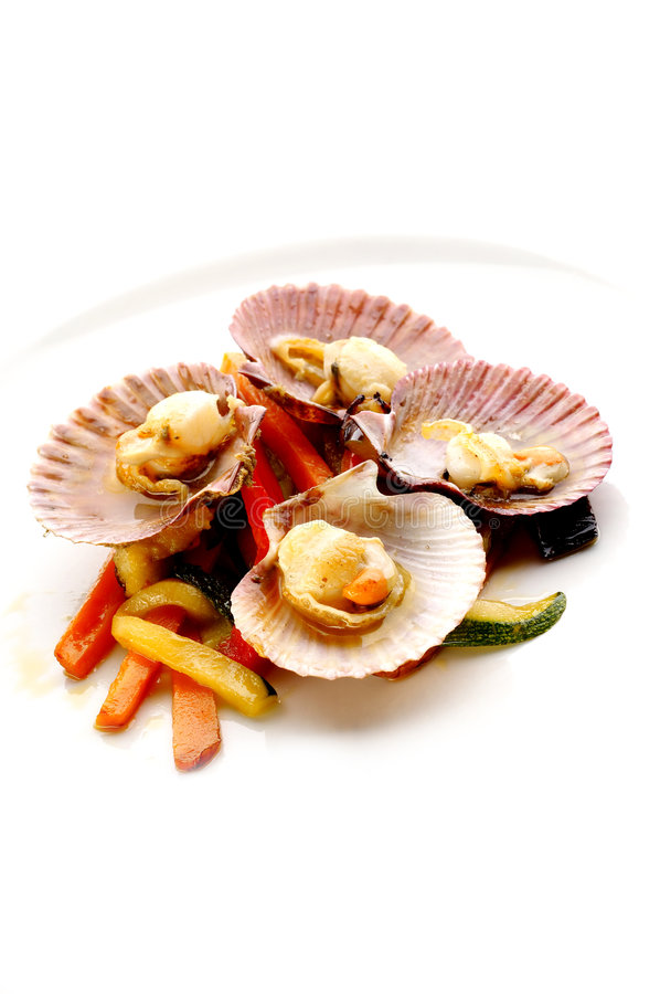 Boiled mussels with vegetable royalty free stock image