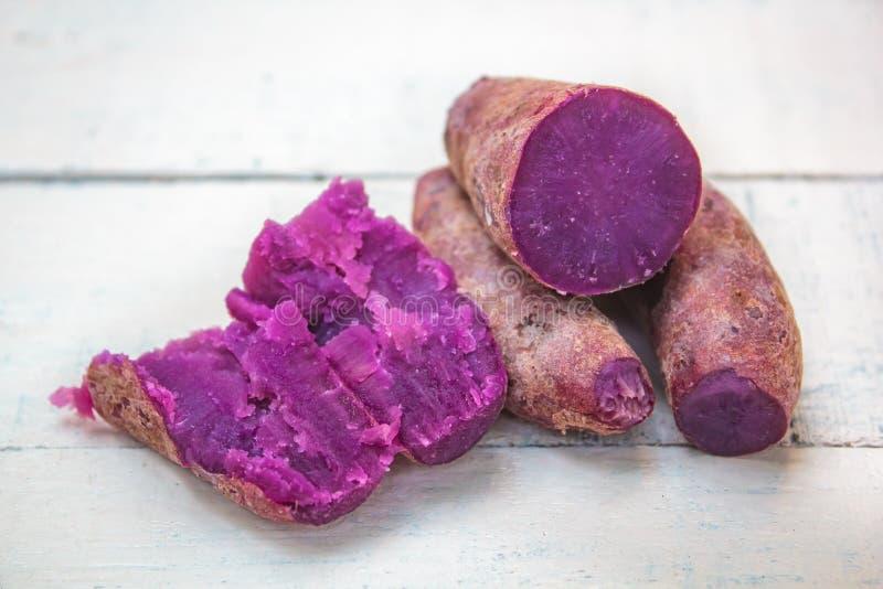 Boiled organic sweet potato, purple yam royalty free stock photography
