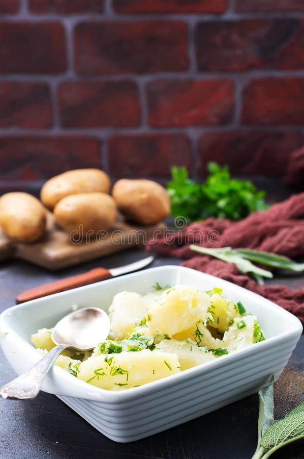 Boiled potato. In white bowl and on a table royalty free stock photography