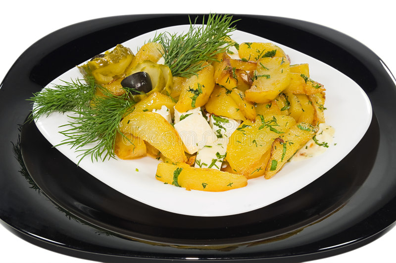 Download Boiled Potato On The House With Pickle And Brynza Stock Photo - Image: 6541118