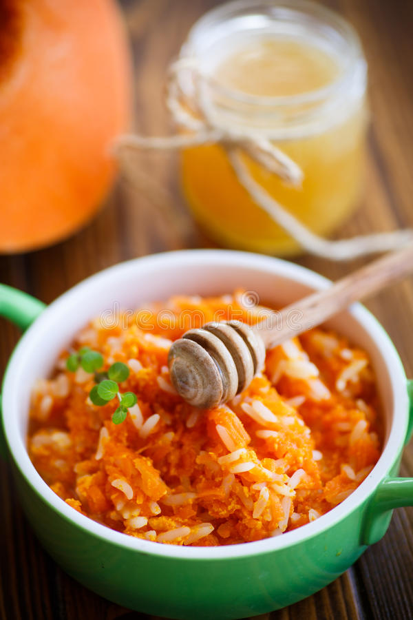 Download Boiled Pumpkin With Rice And Honey Stock Photo - Image: 83713552