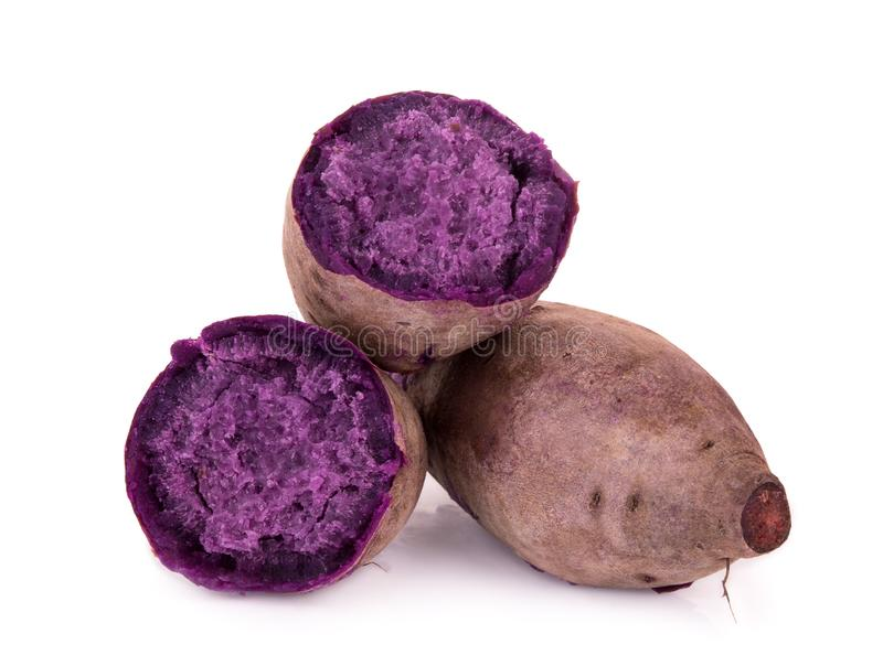 Boiled purple sweet potato or yam isolated on white royalty free stock photography