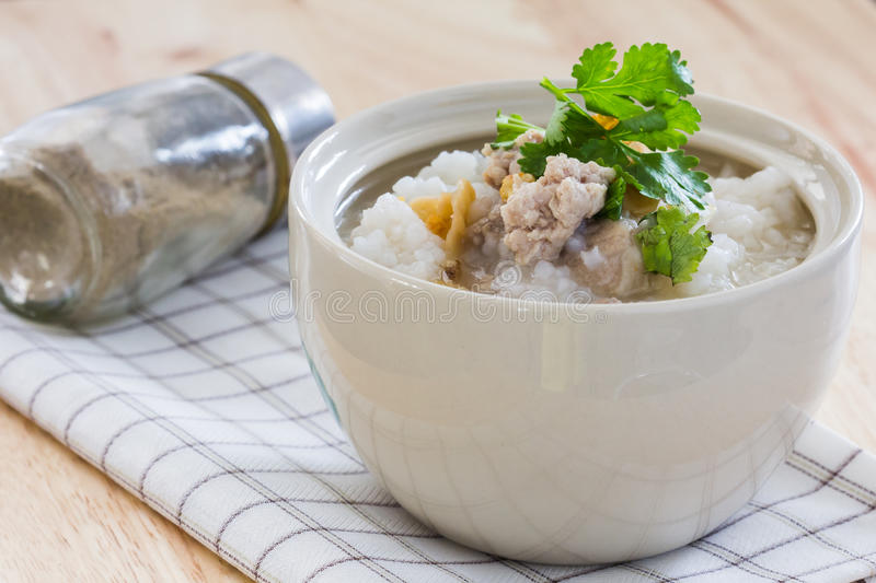 Boiled rice with pork royalty free stock images