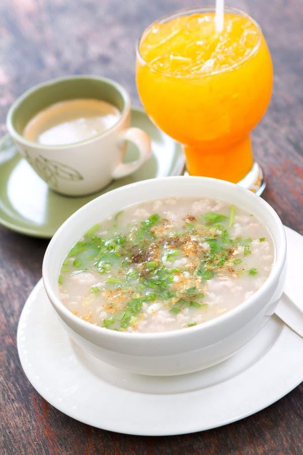 Boiled rice pork or mush for thai style breakfast. Thai Food. royalty free stock photos