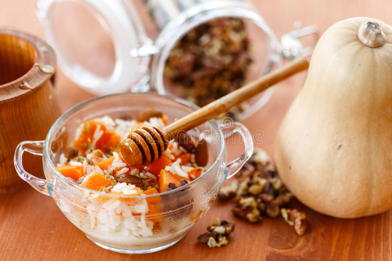 Download Boiled Rice With Pumpkin And Nuts Stock Image - Image: 34239979