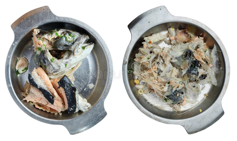 Boiled salmon head from fish soup on a metal plate royalty free stock photo