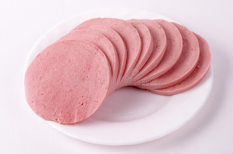 Boiled sausage stock photos