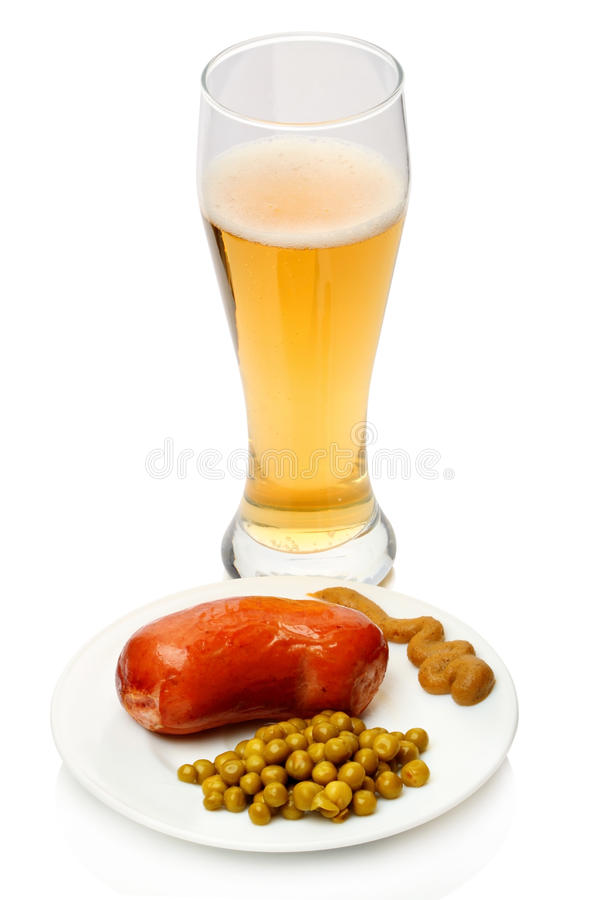 Boiled sausage with beer stock photo