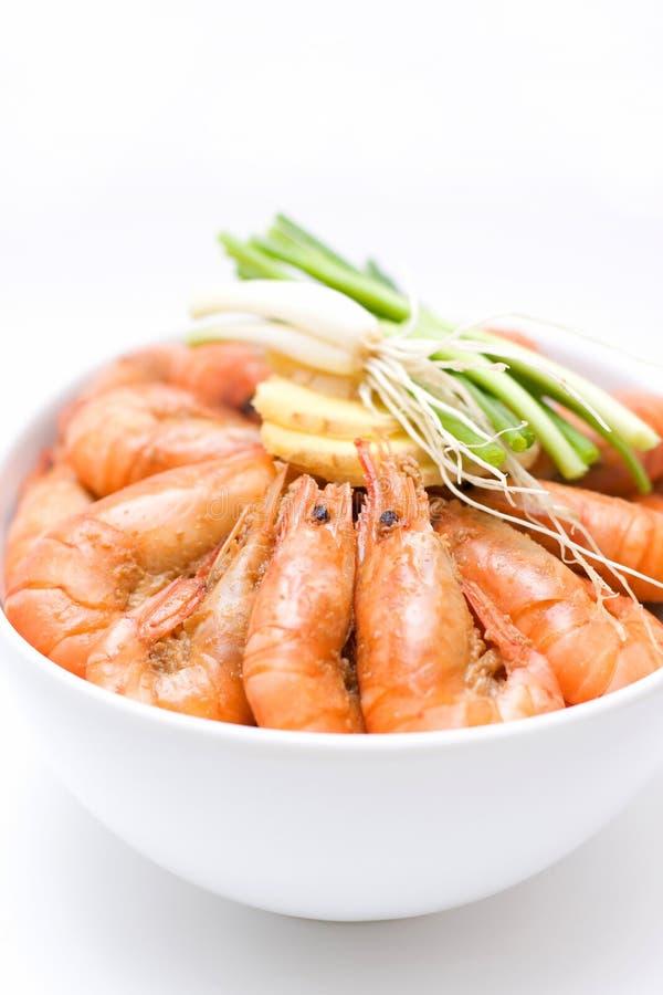 Boiled shrimp stock image