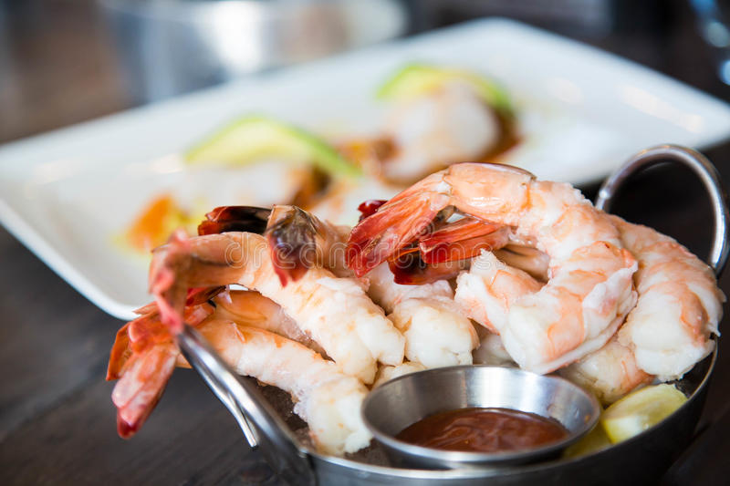 Boiled Shrimp with Cocktail Sauce stock photography