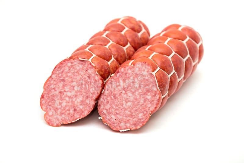 Boiled and smoked sausage stock image