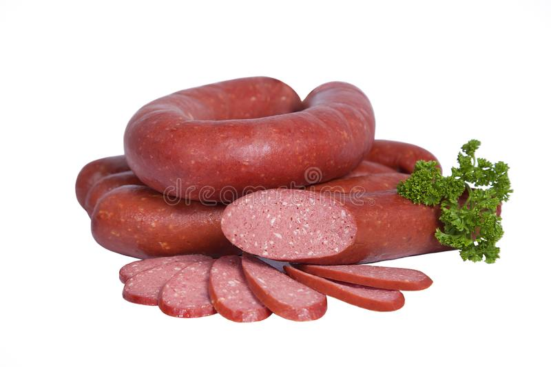 Boiled and smoked sausage in natural shell. Isolated on white background royalty free stock photos