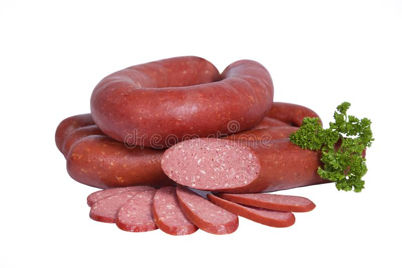Boiled and smoked sausage in natural shell. Isolated on white background stock photo