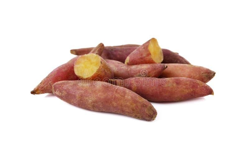 Boiled sweet tiny potato on white stock photo